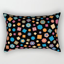 Colorful polygons on Black background Rectangular Pillow