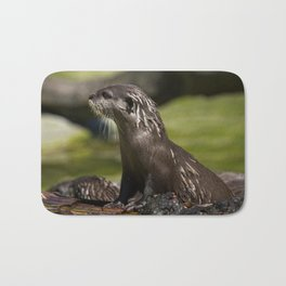 Otter Emerging From The Water Bath Mat