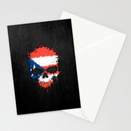Flag of Puerto Rico on a Chaotic Splatter Skull Stationery Cards