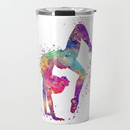 Girl Gymnastics Tumbling Watercolor Travel Mug