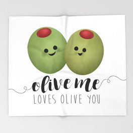 Olive Me Loves Olive You Throw Blanket