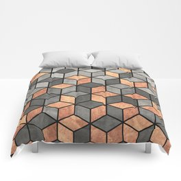Concrete and Copper Cubes Comforters