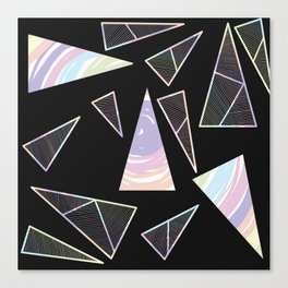 Abstract Artwork Pattern of Color Triangles on a Black Background Style #04 Canvas Print