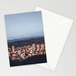 Portland Oregon Skyline and Mount Hood | Travel Photography Stationery Cards