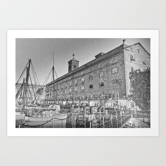 St Katherine's Dock London sketch Art Print