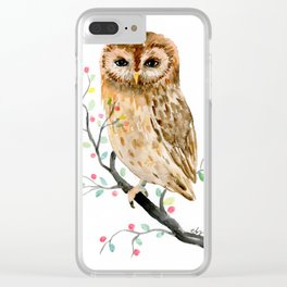 Watercolor Little Owl Portrait Clear iPhone Case