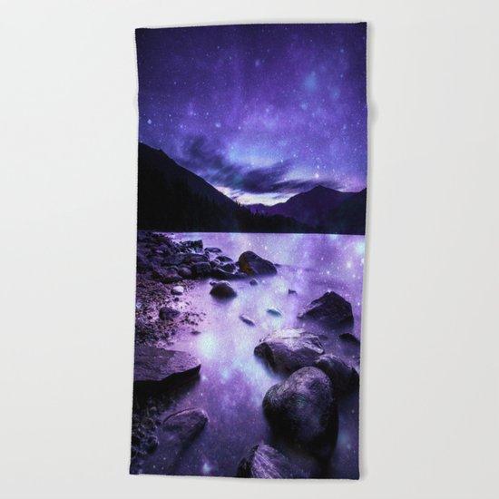 Magical Mountain Lake Purple Beach Towel