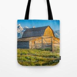 Grand Tetons Mountains Farm Lord's Prayer Tote Bag