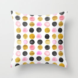 Pink and gold watercolor rounds  Throw Pillow