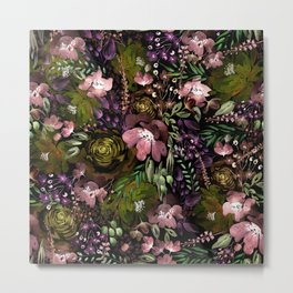 Warm Floral Chaos Metal Print