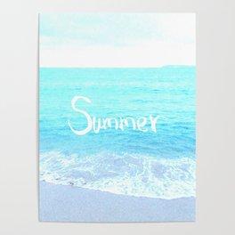 Emerald Blue wave Summer Sea Beach text Poster