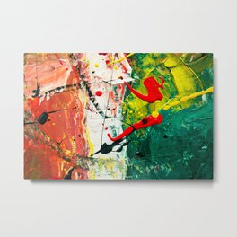 Red White and Green Italian Flag Abstract Painting Metal Print