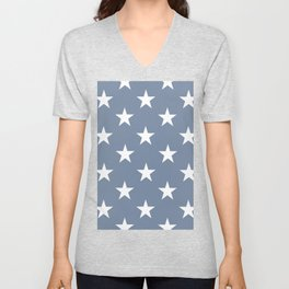 White stars on blue background. From the collection - Hello America. Unisex V-Neck