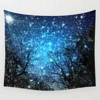 the fault Wall Tapestries featuring Black Trees Blue SPACE by 2sweet4words Designs