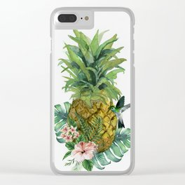 Tropical Pineapple Clear iPhone Case
