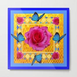 CERULEAN BLUE BUTTERFLIES SPRING PINK ROSES Metal Print