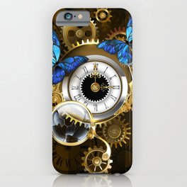Silver Watches with Blue Butterflies ( Steampunk ) iPhone Case