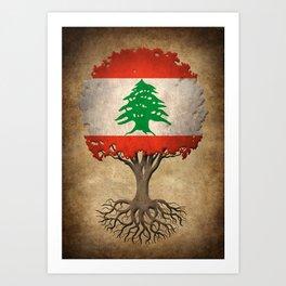 Vintage Tree of Life with Flag of Lebanon Art Print