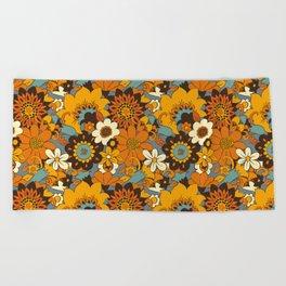 70s Retro Flower Power 60s floral Pattern Orange yellow Blue Beach Towel