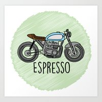 cafe racer Art Prints featuring Espresso - Cafe Racer by Andre Gascoigne