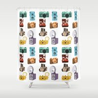 cameras Shower Curtains featuring Retro Cameras by Polito