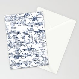 F-18 Blueprints // Blue Ink Stationery Cards