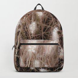 Closeup blooming grass flowers field texture background Backpack