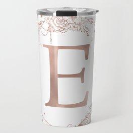 Letter E Rose Gold Pink Initial Monogram Travel Mug