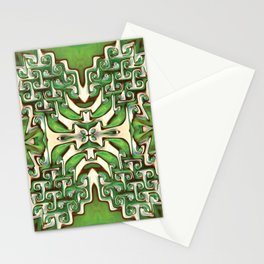 Green and Cream Spiral Bends Stationery Cards
