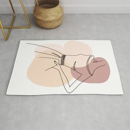 Line Art Beautiful Woman III    Rug