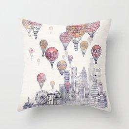 Voyages Over Santa Monica Throw Pillow