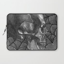 Black Grey and White, American Style Tattoo Skull Laptop Sleeve