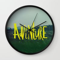 adventure Wall Clocks featuring Adventure by Leah Flores
