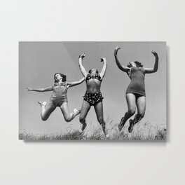 Sing!  Love!  Jump!  Dance! - Three female figures in bliss at the beach black and white photograph / photography Metal Print