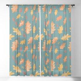 Autumn Oakleaves (teal) Sheer Curtain