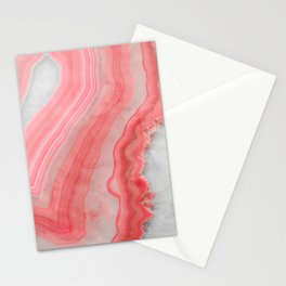 Coral Pink Agate Stationery Cards