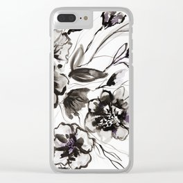 Ink Flowers Clear iPhone Case