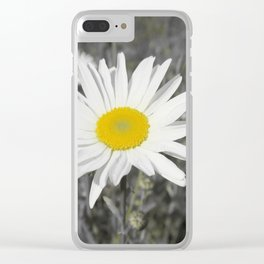 yellow columbine blossom, black white gray still life beautiful big floral pattern Clear iPhone Case