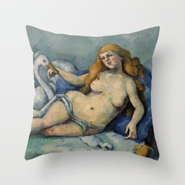Leda and the Swan by Paul Cézanne. Throw Pillow