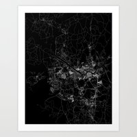 seoul Art Prints featuring Seoul by Line Line Lines
