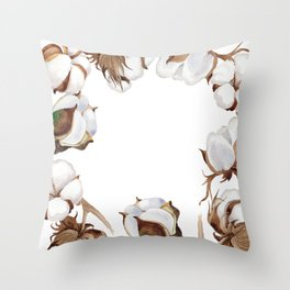 Cotton Flower Frame 01 Throw Pillow