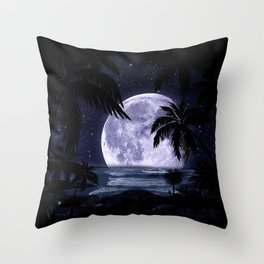 A night at the beach in paradise Throw Pillow