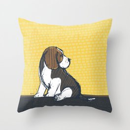 Beagle Puppy Portait by Friztin Throw Pillow