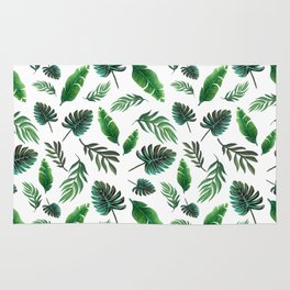 palm leaf print, tropical watercolor Rug