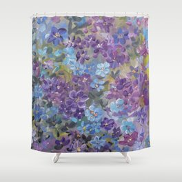 Garden Glory ..in blue and purple Shower Curtain