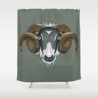 ram Shower Curtains featuring Ram by Stu Jones