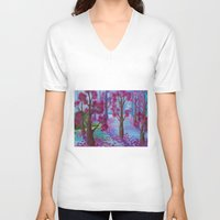 life aquatic V-neck T-shirts featuring Aquatic Tree Scape  by GraceJinnah