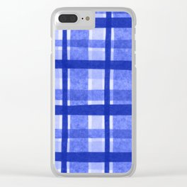 Tissue Paper Plaid - Blue Clear iPhone Case