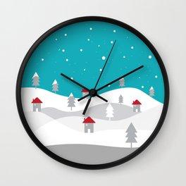 Xmas Winter White Christmas Scene, beautiful landscape winter Wall Clock