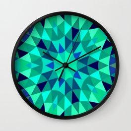 teal. blue green Mandala Retro Geometry Wall Clock